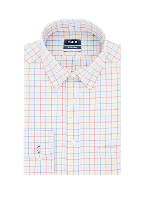 IZOD Big & Tall Medium Tattersall Stretch Button