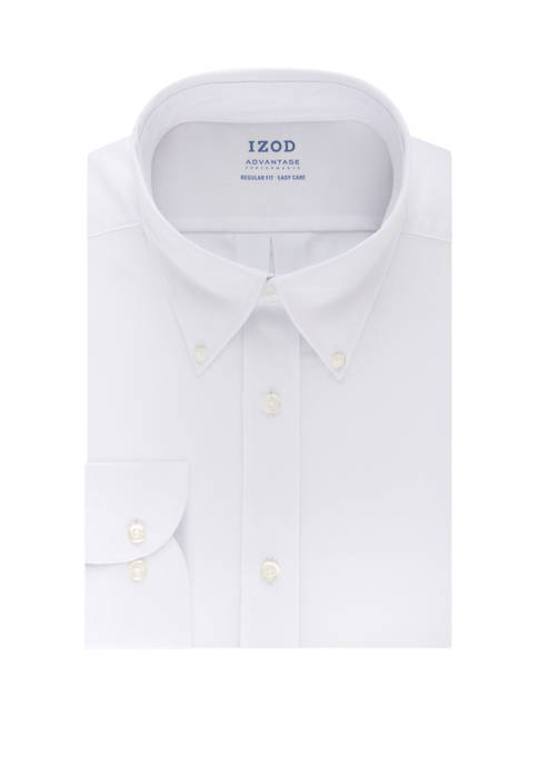 IZOD Mens Advantage CoolFX Regular Solid Dress Shirt