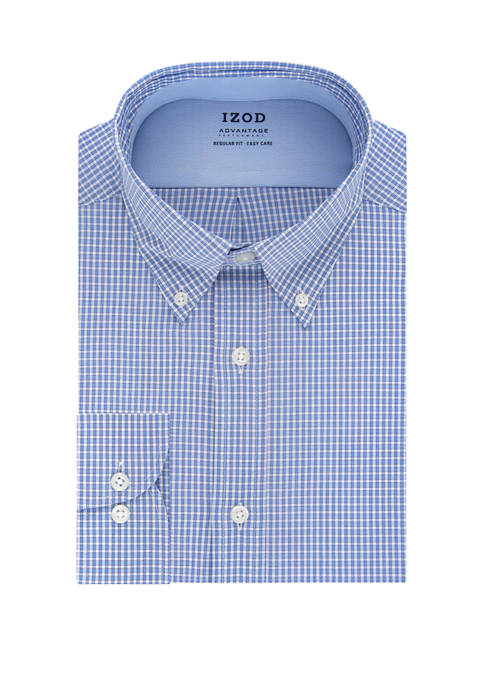 IZOD Mens Advantage CoolFX Regular Check Dress Shirt