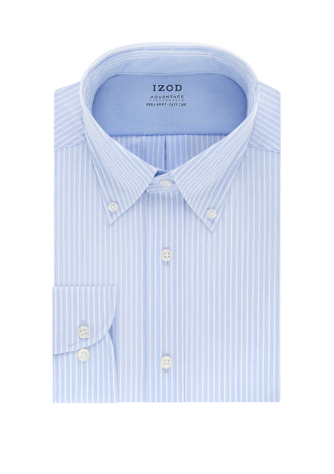 IZOD Mens Advantage CoolFX Regular Stripe Dress Shirt