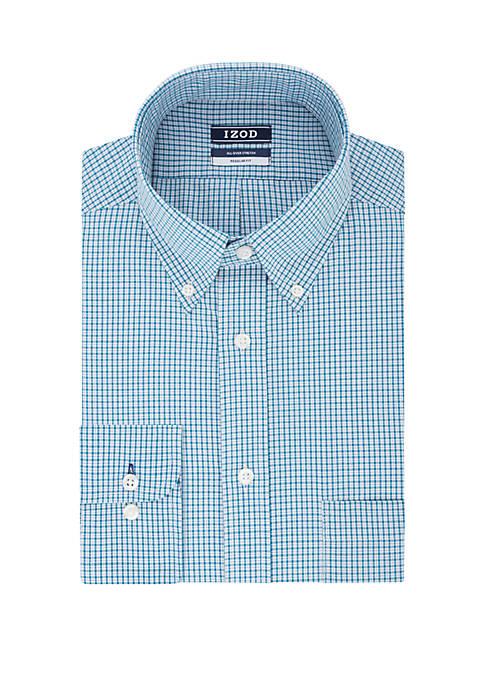 IZOD Regular Stretch Mini Check Dress Shirt
