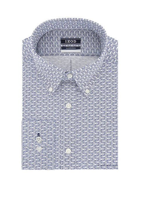 Mens Regular Stretch Printed Dress Shirt