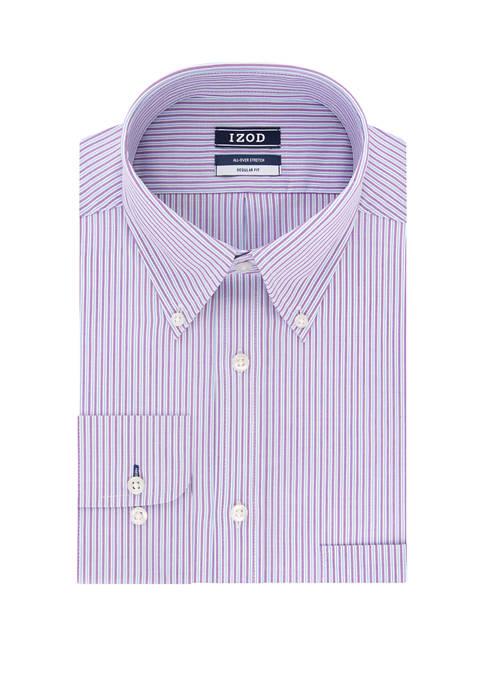 Regular Fit Stretch Stripe Button Down Shirt