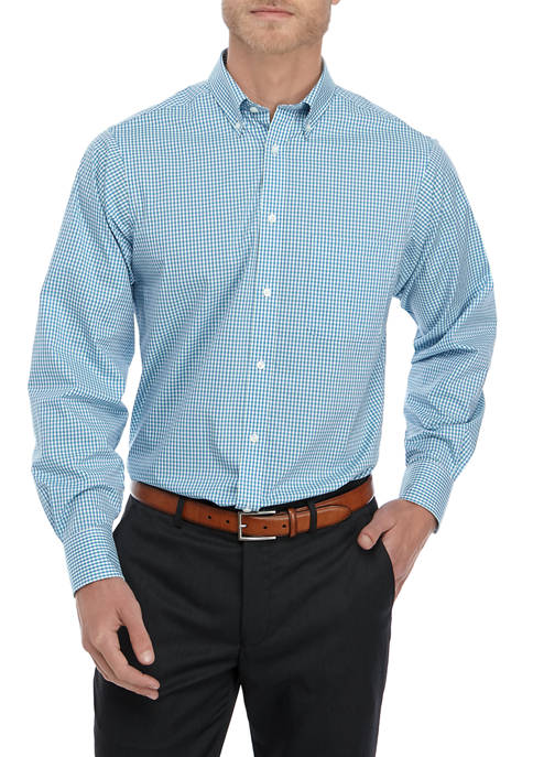 IZOD Regular Stretch Multi Gingham Check Button Down
