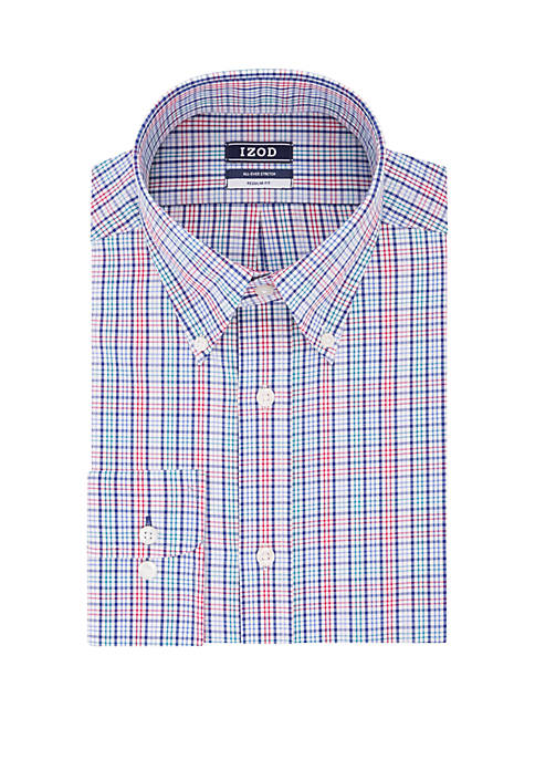 Regular fit Stretch Multi Check Button-Down Shirt