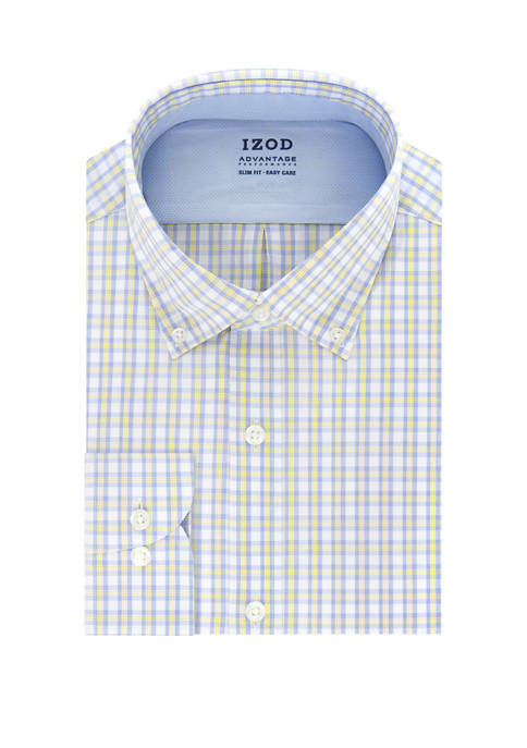 IZOD Mens Advantage Cool FX Slim Fit Check
