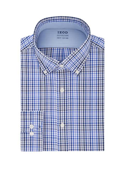 Slim Fit Checkered Button Down Shirt