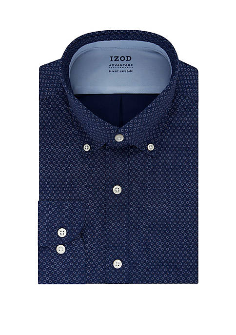 IZOD Mens Regular Stretch Printed Dress Shirt