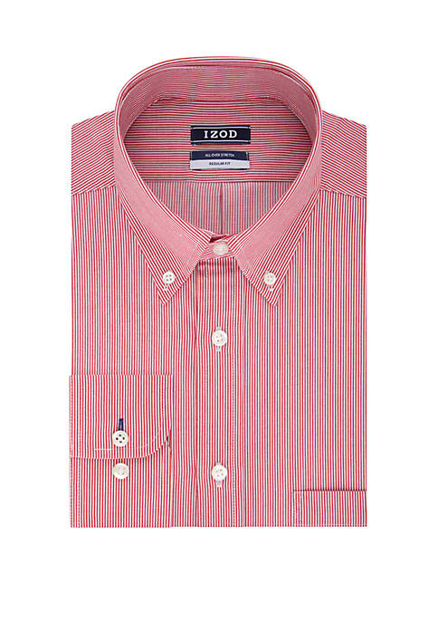IZOD Mens Regular Stretch Striped Dress Shirt