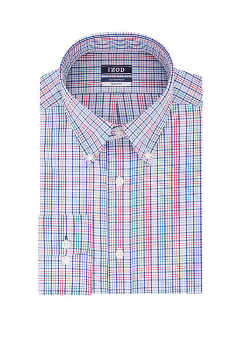 IZOD Big & Tall Check Print Dress Shirt