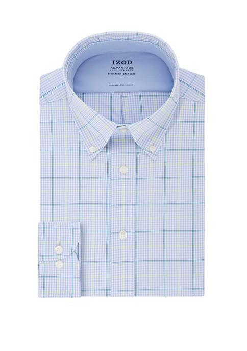IZOD Mens Advantage Cool FX Regular Windowpane Print