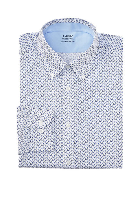 Mens Regular Fit Flamingo Print Button Down Shirt