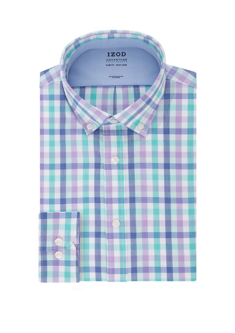 IZOD Mens Advantage CoolFX Slim Fit Check Print