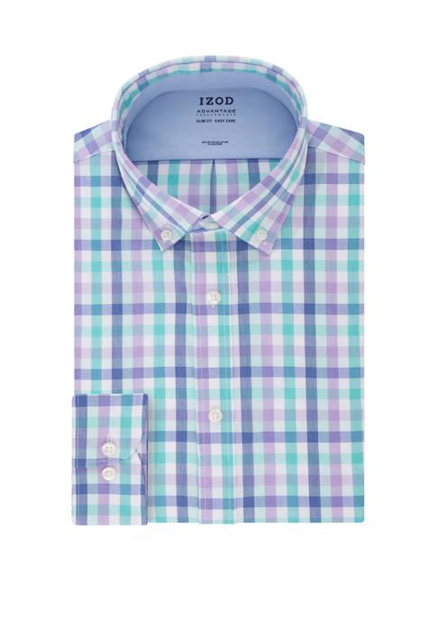 Mens Advantage CoolFX Slim Fit Check Print Dress Shirt