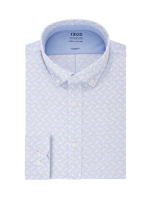 Mens Advantage CoolFX Slim Fit Printed Dress Shirt