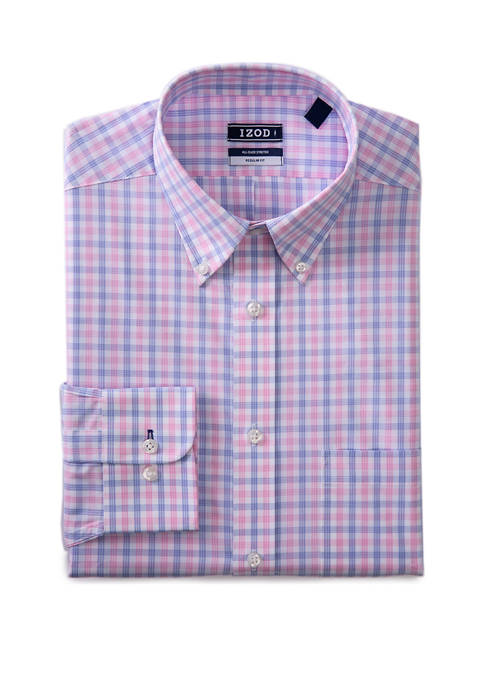 Mens Regular Fit Stretch Multi Gingham Button Down Shirt