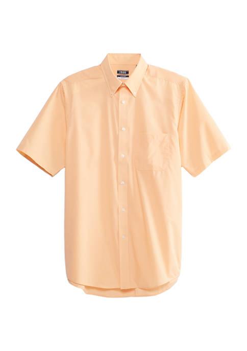 IZOD Mens Tonal Check Short Sleeve Dress Shirt