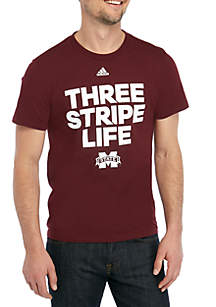 adidas Mississippi State Bulldogs Three Stripe Short Sleeve T Shirt