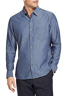 Long Sleeve Never Tuck Woven Slim Fit Shirt