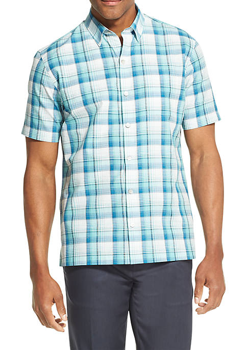Van Heusen Air Plaid Textured Short Sleeve Shirt