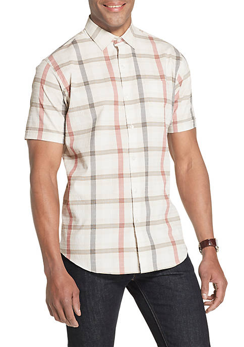 Air Textured Classic Fit Check Short Sleeve Shirt