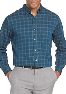 Long Sleeve Wrinkle Free Twill Grid Button Down Shirt