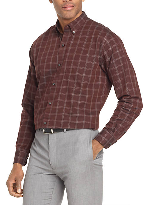 Van Heusen Long Sleeve Wrinkle Free Twill Grid