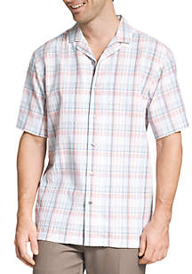 Short Sleeve Air Pucker Plaid Button Down Shirt