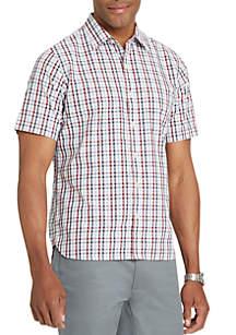 Short Sleeve Slim Fit Small Plaid Print Button Down Shirt