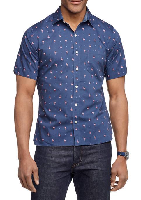 Mens Never Tuck Slim Fit Short Sleeve Shirt