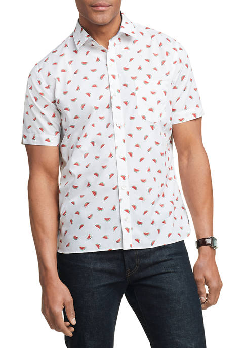 Mens Never Tuck Slim Fit Short Sleeve Shirt