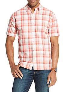 Van Heusen Big & Tall Air Plaid Textured Short Sleeve Shirt