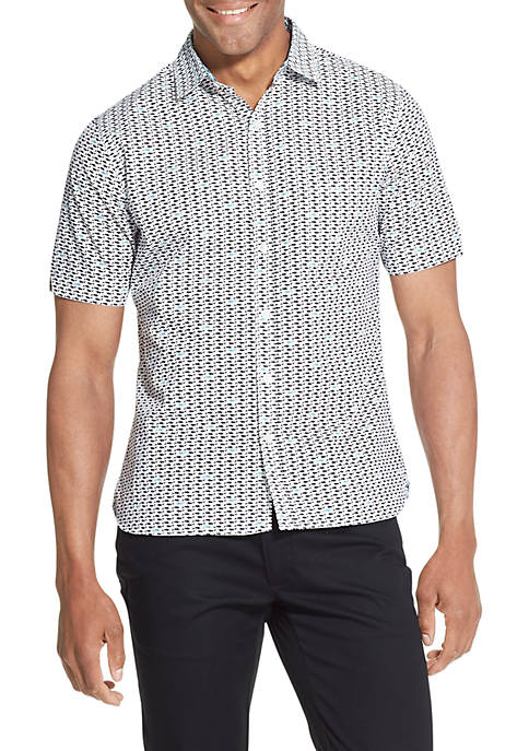 Big & Tall Never Tuck Printed Slim Fit Shirt