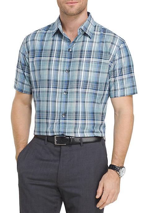 Van heusen short sleeve plaid button down shirt belk for Van heusen plaid shirts