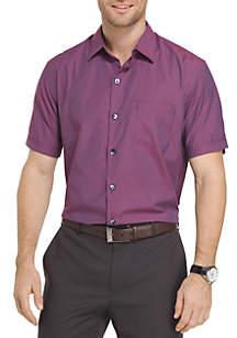 Short Sleeve Micro Plaid Button Down Shirt
