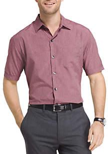 Big & Tall Short Sleeve Heathered Button Down Shirt