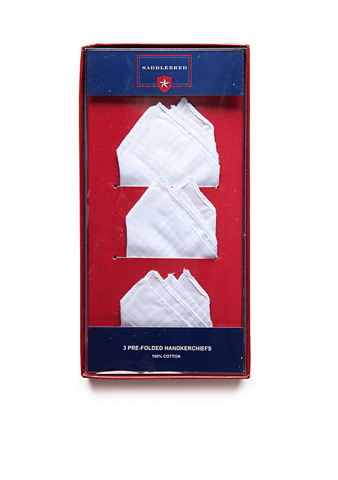3-Pack Pre-Folded Cotton Handkerchiefs