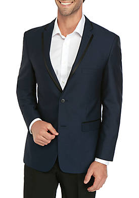 Blue Satin Lapel Dinner Jacket