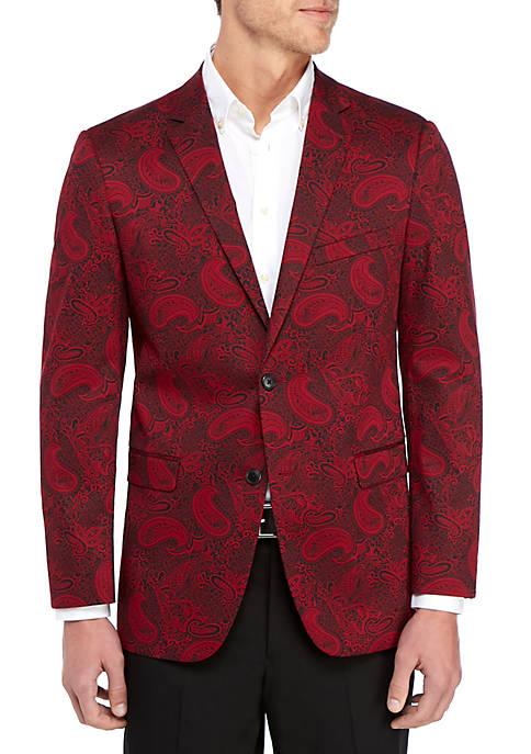 Red Printed Paisley Dinner Jacket