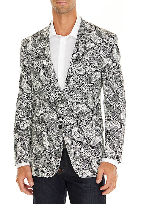 Madison Black and White Paisley Stretch Sportcoat