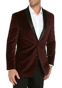 Madison Burgundy Velvet Black Satin Shawl Sportcoat