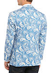 Blue White Paisley Stretch Jacket