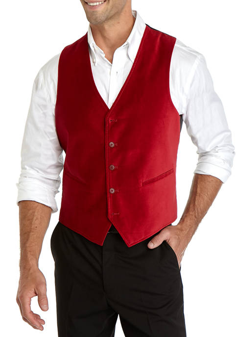 Madison Mens Red Velvet Vest