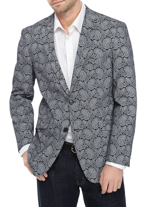 Madison Mens Black White Paisley Sport Coat
