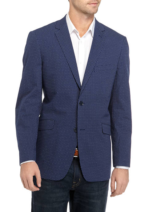 Madison Mens Blue Mini Dot Print Sport Coat