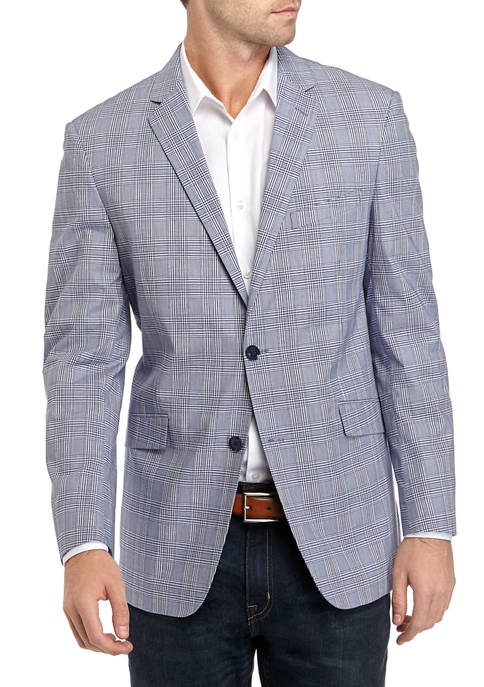 Madison Mens Blue and White Plaid Sport Coat