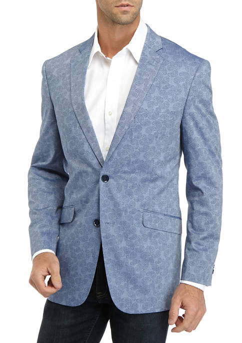 Madison Mens Chambray Blue Paisley Print Blazer