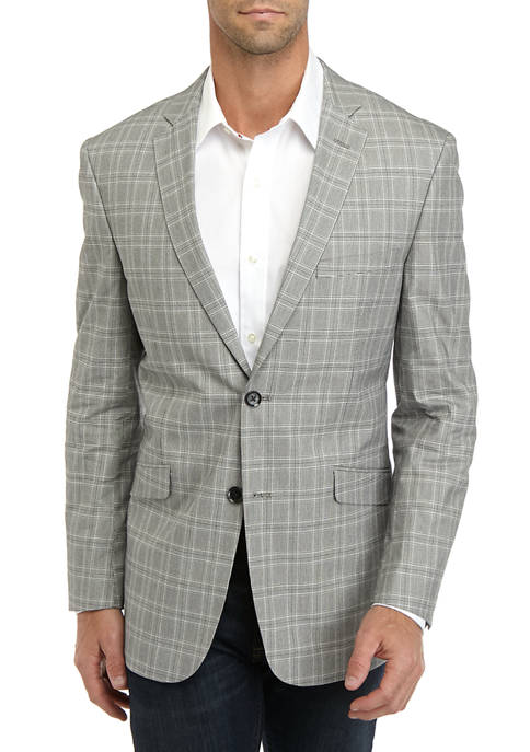 Mens Black And White Plaid Sport Coat