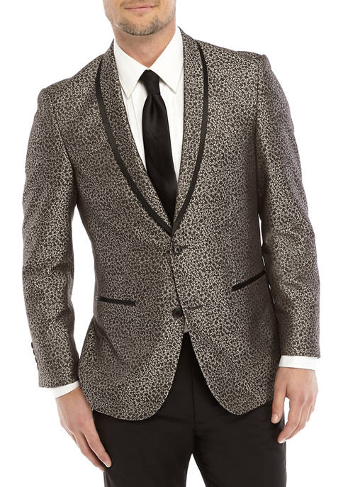 Madison Mens Black and Gray Textured Dinner Jacket