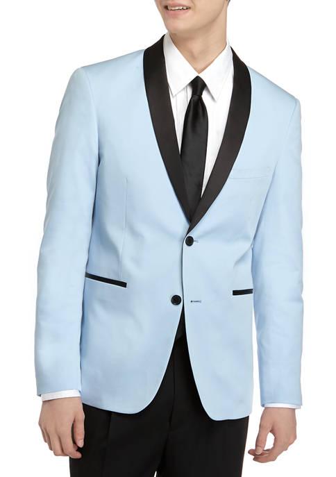 Mens Light Blue Satin Dinner Jacket